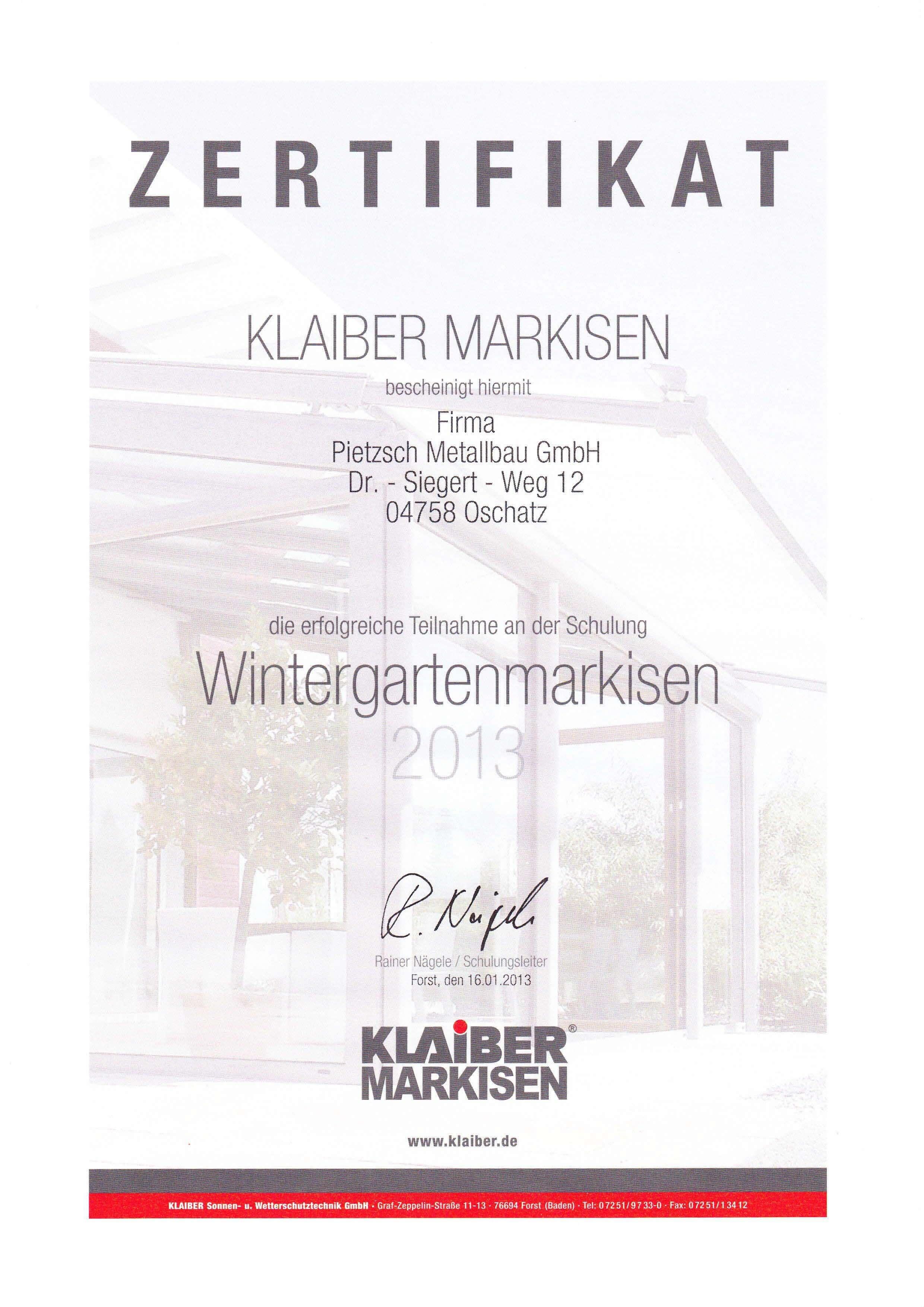 Zertifikate Und Weiterbildungen F R Markisen Und