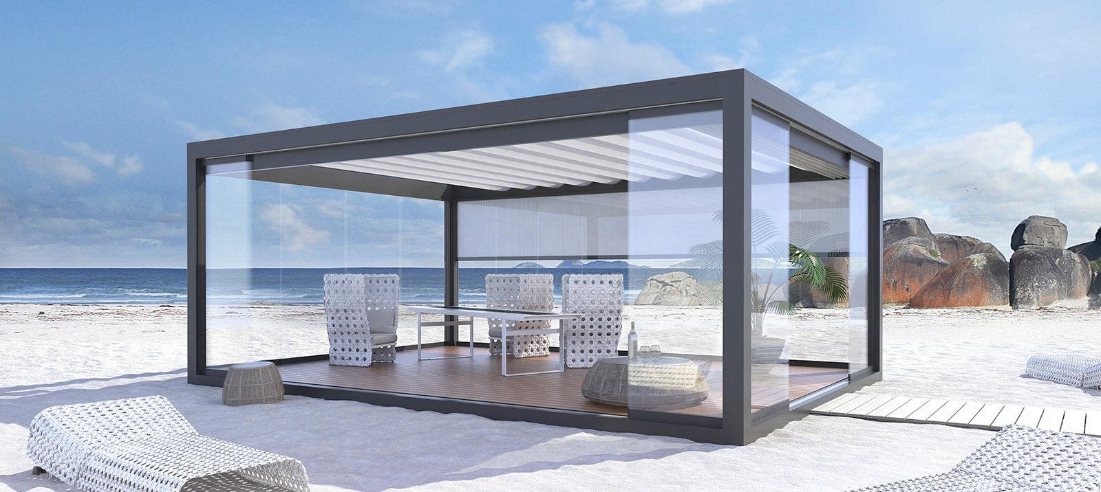 terrassen pavillon genie en sie ihre terrasse bei jedem wetter. Black Bedroom Furniture Sets. Home Design Ideas
