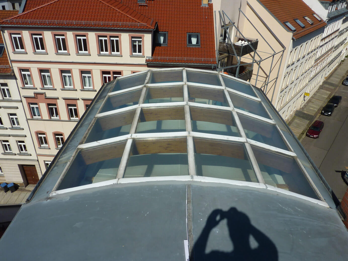 professionelle Sanierung-Glasdach: vorher