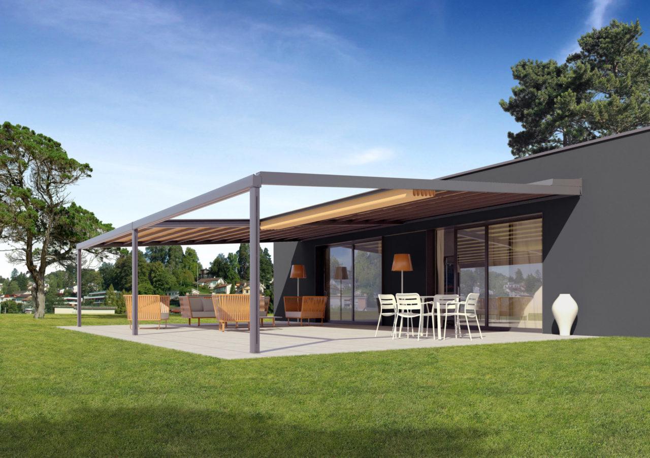 Die Gastro- Markise, RIVERA P5000, ist die Nummer 1 auf Ihrer privaten Terrasse oder für große Flächen in der Außengastronomie. Sie ist entwickelt für besondere Größen. Manchmal darf es eben etwas mehr sein. Besonders große Terrassen bieten viel Komfort, deshalb sind die Anforderungen an den Schutz vor Sonne, Wind und Regen auch besonders hoch. Das multifunktionelle Terrassendach RIVERA P5000 bietet im Standard bis zu 105 m² zuverlässigen Sonnenschutz und Regenschutz. Mit der neuen RIVERA P5000 kreieren Sie auf jeder Terrasse großzügigen Freiraum im eleganten Design. Die integrierte Faltmarkise spendet bei Sonnenschein kühlen Schatten und schützt vor schädlicher UV- Strahlung. Wenn es regnet, leitet das straff gespannte und wasserdichte RESISTANT- Polyestergewebe das Wasser kontrolliert zum Ablaufsystem im Frontbereich. Erweitern Sie den Open-Air- Genuss mit komfortablen Optionen. Die stromsparende LED- Beleuchtung zaubert nachts ein stimmungsvolles Ambiente auf Ihre Terrasse. Mit den variablen Schiebeverglasungen profitieren Sie von zusätzlichem Schutz gegen Wind und Wetter und verlängern dadurch Ihre Freiluft-Saison - Panoramaausblick inklusive. Auf Wunsch sorgt die harmonisch integrierte, dimmbare LED- Beleuchtung für Terrassengenuß bis tief in die Nacht hinein. Infrarotstrahler sorgen für wohlige Wärme von der ersten Sekunde an. Die Bedienung per Funk ist ebenso möglich. Exklusiver kann eine Terrasse nicht vor zu viel Sonne, Wind und Regen geschützt werden! Facts & Figures Großflächiges, maßgefertigtes Terrassendach Elegante Sonnen- und Regenschutzlösung Flexibel einsetzbar für Privat und Gastronomie Regendichte Faltmarkise mit robustem, schmutzabweisendem Polyestergewebe, Brandschutzklasse B1 Integrierter Wasserablauf Dachneigung von 8° bis 25° Korrosionsbeständige Aluminiumkonstuktion Serienmäßig mit Elektroantrieb Komfortabel erweiterbar durch: Integrierte, dimmbare LED- Beleuchtung Schiebbare Seiten- und Frontverglasung Aluminium Systemboden,Terrassenüberdac