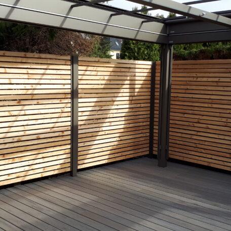Sichtschutz-Sibirische Lärche-WPC Timbertech-Terrassenpavillon MX Markant