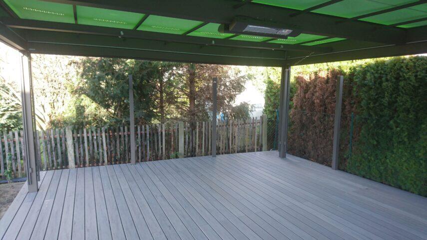 Terrassenpavillon MX Markant-WPC Timbertech-Sichtschutzwand